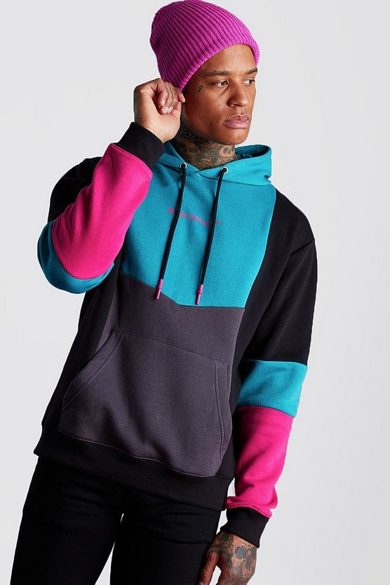 Teal Man Official Colour Block Hoodie