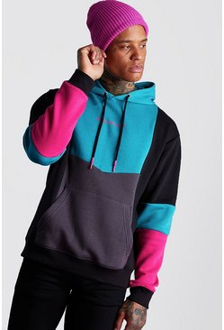 Man Official Colourblock-Hoodie, Petrol