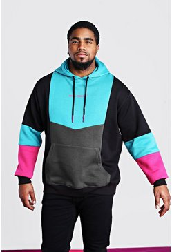 Big & Tall MAN Official Colour Block Hoodie, Petrol