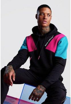 Black Man Official Printed Colour Block Hoodie