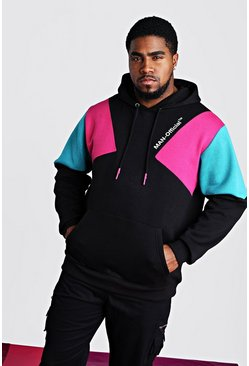 Big & Tall MAN Official Hoodie mit Print, Schwarz