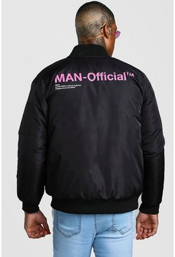 Black Man Official Printed Padded Bomber Jacket
