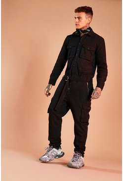 Black Denim Boilersuit With Contrast Stitching