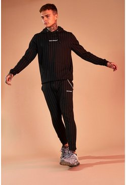 Black MAN Official Pinstripe Jacquard Tracksuit
