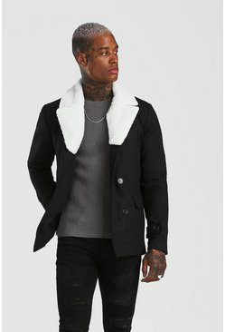 Black Double Breasted Peacoat Detatchable Borg Collar