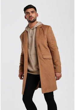 Camel Wool Look Overcoat