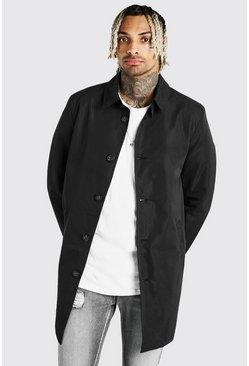 Black Single Breasted Twill Mac