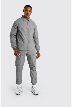 Nylon-Harringtonjacke, Grau