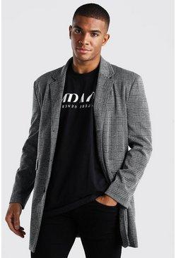 Grey Check Overcoat Wool Look