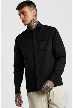 Black 2 Pocket Utility Shirt