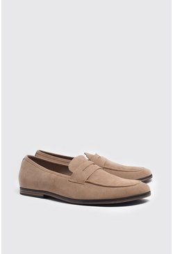 Stone Faux Suede Saddle Loafer