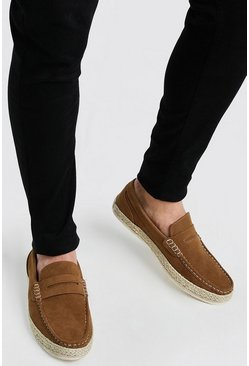 Tan Faux Suede Jute Saddle Loafer