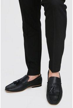 Black Emboss Faux Leather Tassel Loafer