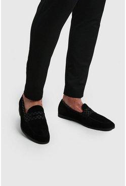 Black Checkerboard Saddle Loafer