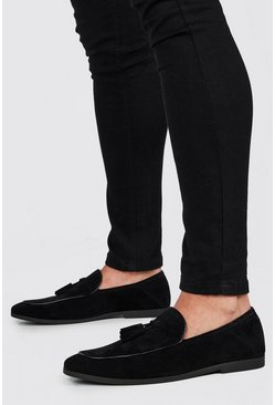 Black Faux Suede Tassel Detail Loafer