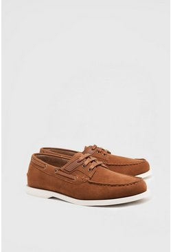 Tan Faux Suede Boat Shoe