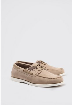 Stone Faux Suede Boat Shoe