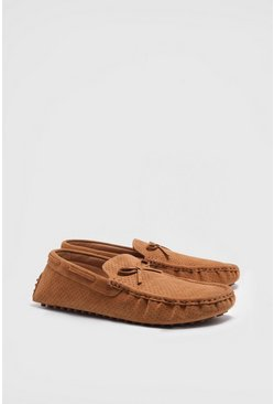 Tan Faux Suede Tassel Loafer