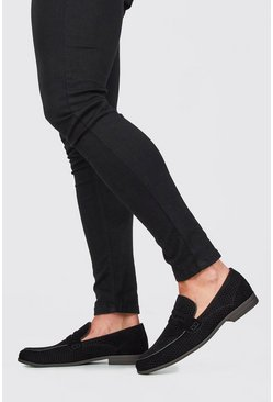 Black Faux Suede Circle Emboss Loafer