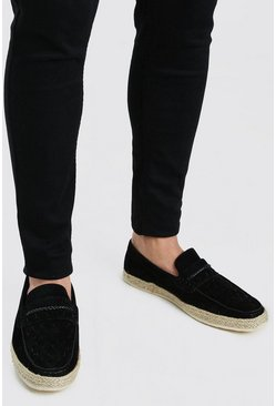 Black Faux Suede Woven Braided Loafer