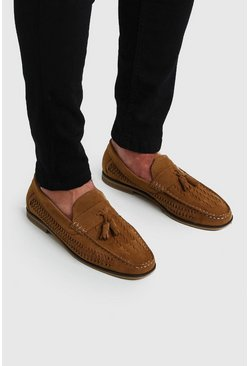 Tan Faux Suede Woven Loafer