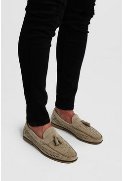 Stone Faux Suede Woven Loafer