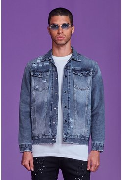 Mid blue Reversible Distressed Denim Jacket