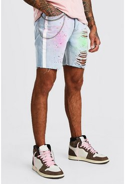 Light blue Slim Fit Spray Paint Jean Shorts With Chain