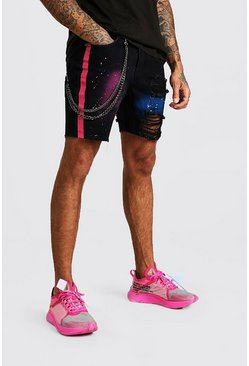 Black Slim Fit Spray Paint Jean Shorts With Chain