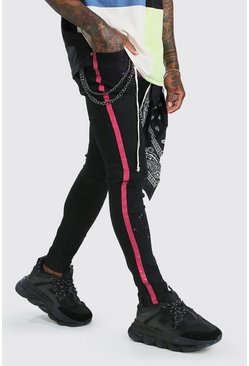 Black Super Skinny Spray Paint Jeans With Chain