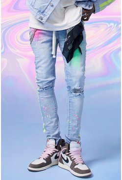 Light blue Super Skinny Spray Pain Jeans With Chain