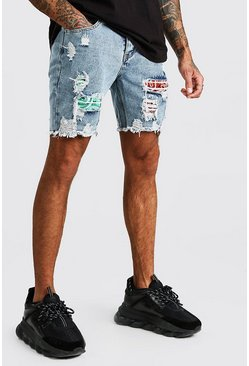 Washed blue Slim Fit Bandana Rip & Rerpair Denim Shorts