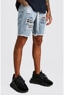 Light blue Slim Fit Paint Splatter Bandana Denim Shorts