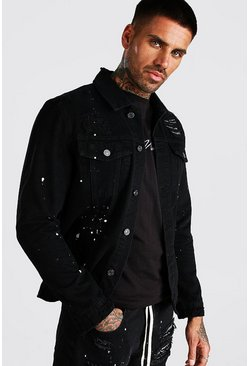 Washed black Paint Splatter Denim Jacket With Bandana
