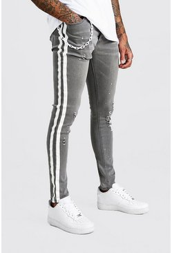 Grey Super Skinny Side Stripe Jean With Plastic Chain
