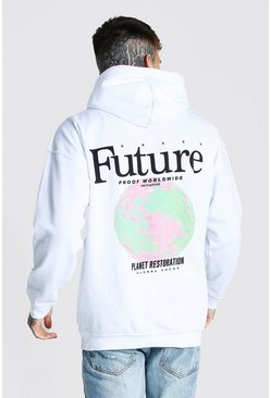 White Oversized Future Back Print Hoodie