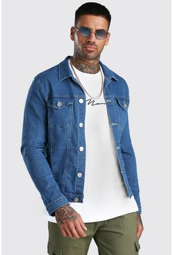 Muscle Fit Denim-Jacke, Blau