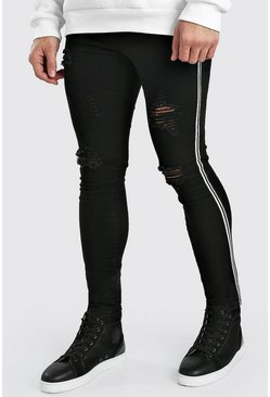 Washed black Super Skinny Ripped Jeans With Tape