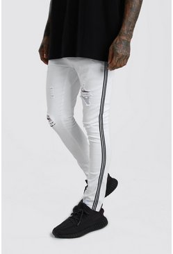 White Super Skinny Ripped Jeans With Tape