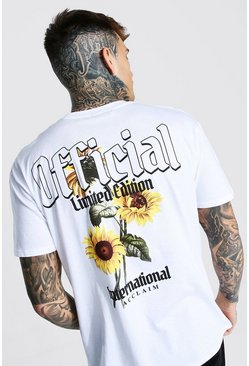 White Sunflower Back Print T-shirt
