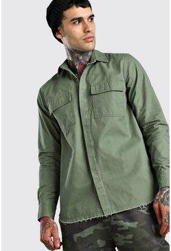 Khaki Longline Raw Hem Twill Shirt