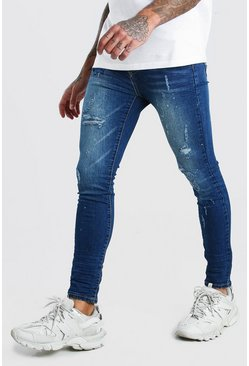 Washed indigo Super Skinny Rip & Repair Splatter Jeans