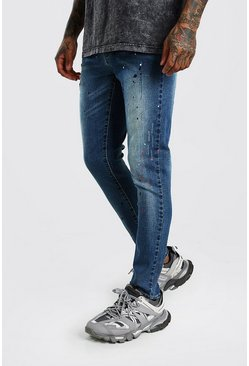 Blue Skinny Paint Splat Distressed Jeans