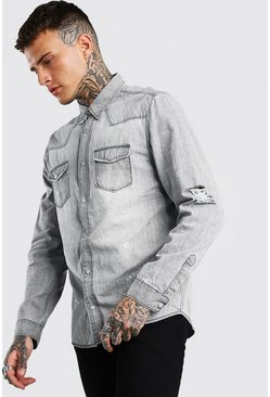 Grey Washed Denim Shirt With Bleach Splat & Distressing