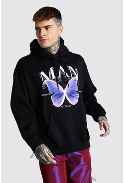 Black Oversized Man Butterfly Print Hoodie
