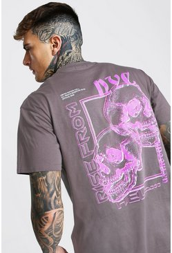 Charcoal Loose Skull Back Print T-shirt