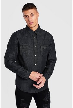 Black Western Detail Denim Shirt