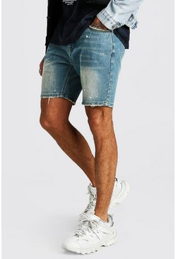 Mid wash Skinny Jean Short With Paint Splatter