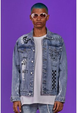 Blue Graffiti Printed Denim Jacket