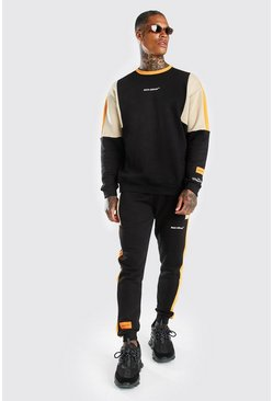 Black MAN Official Colour Block Tracksuit